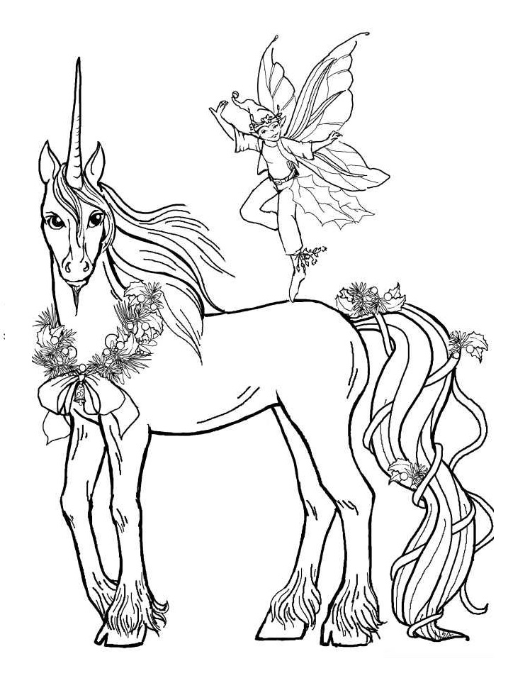 Unicorn With Fairy Coloring Page - Free Printable Coloring ...