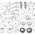Fruits And Vegetables Colouring Pages