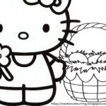 Hello Kitty Happy Easter Coloring Pages