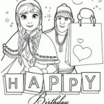 Disney Frozen Happy Birthday Coloring Pages