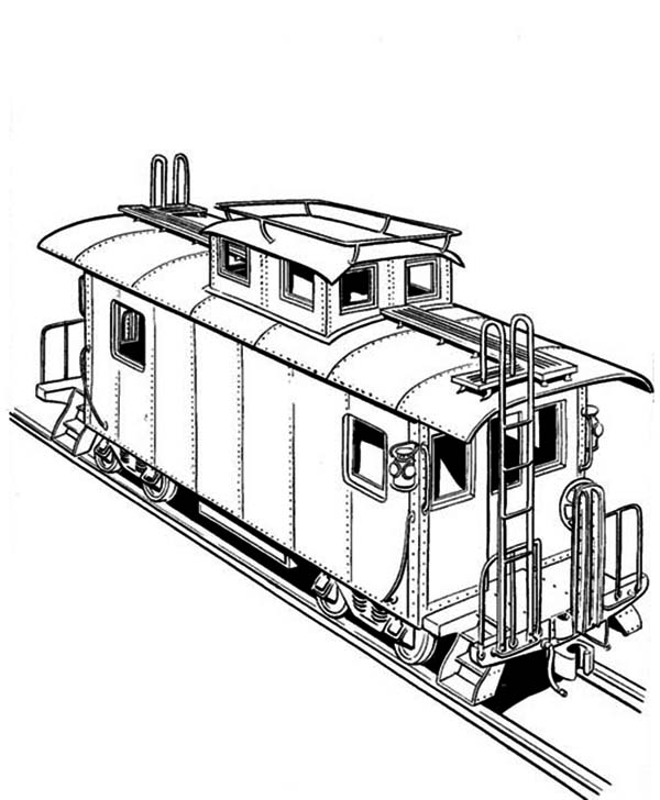 Freight Train On Railroad Coloring Page : Color Luna