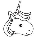 Unicorn Face Colouring Pages