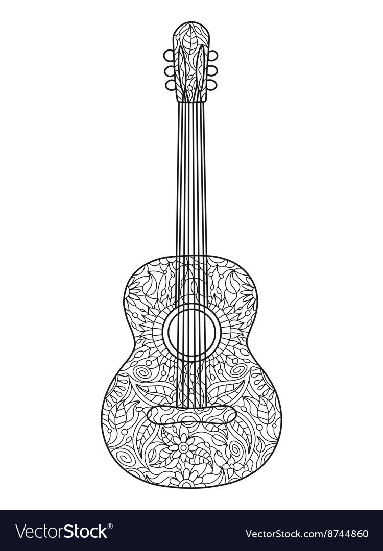 Acoustic guitar coloring book for adults Vector Image