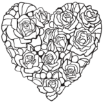 Printable Coloring Pages Hearts And Flowers