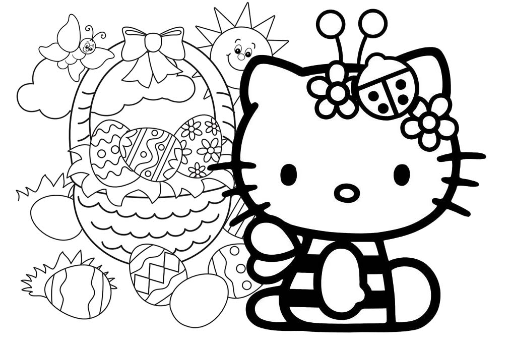 Hello kitty easter coloring pages to download and print ...