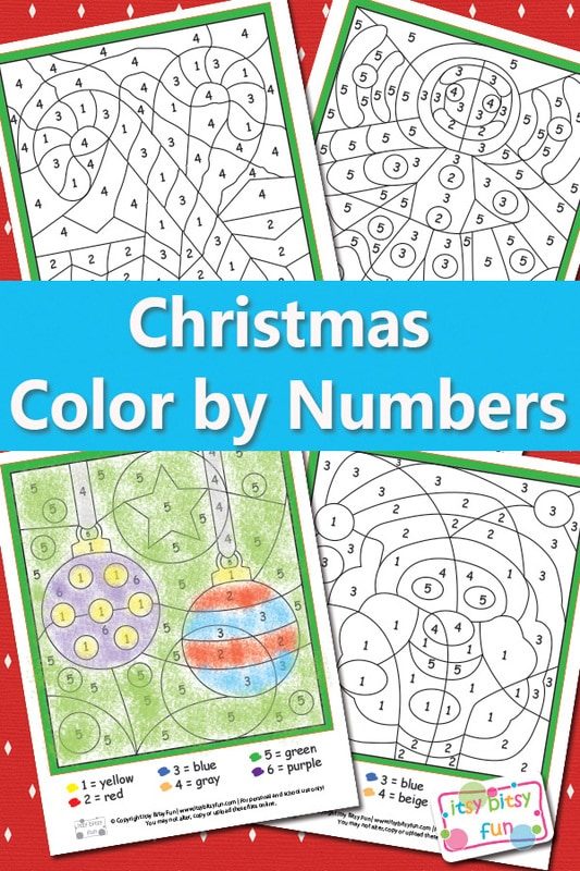 Christmas Color By Numbers Worksheets - itsybitsyfun.com