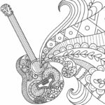 Detailed Guitar Coloring Pages For Adults