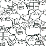 Printable Pusheen Birthday Coloring Pages