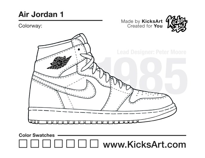 Air Jordan 1 Coloring Pages Sneaker Coloring Pages ...