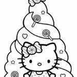 Hello Kitty Cute Happy Birthday Coloring Pages