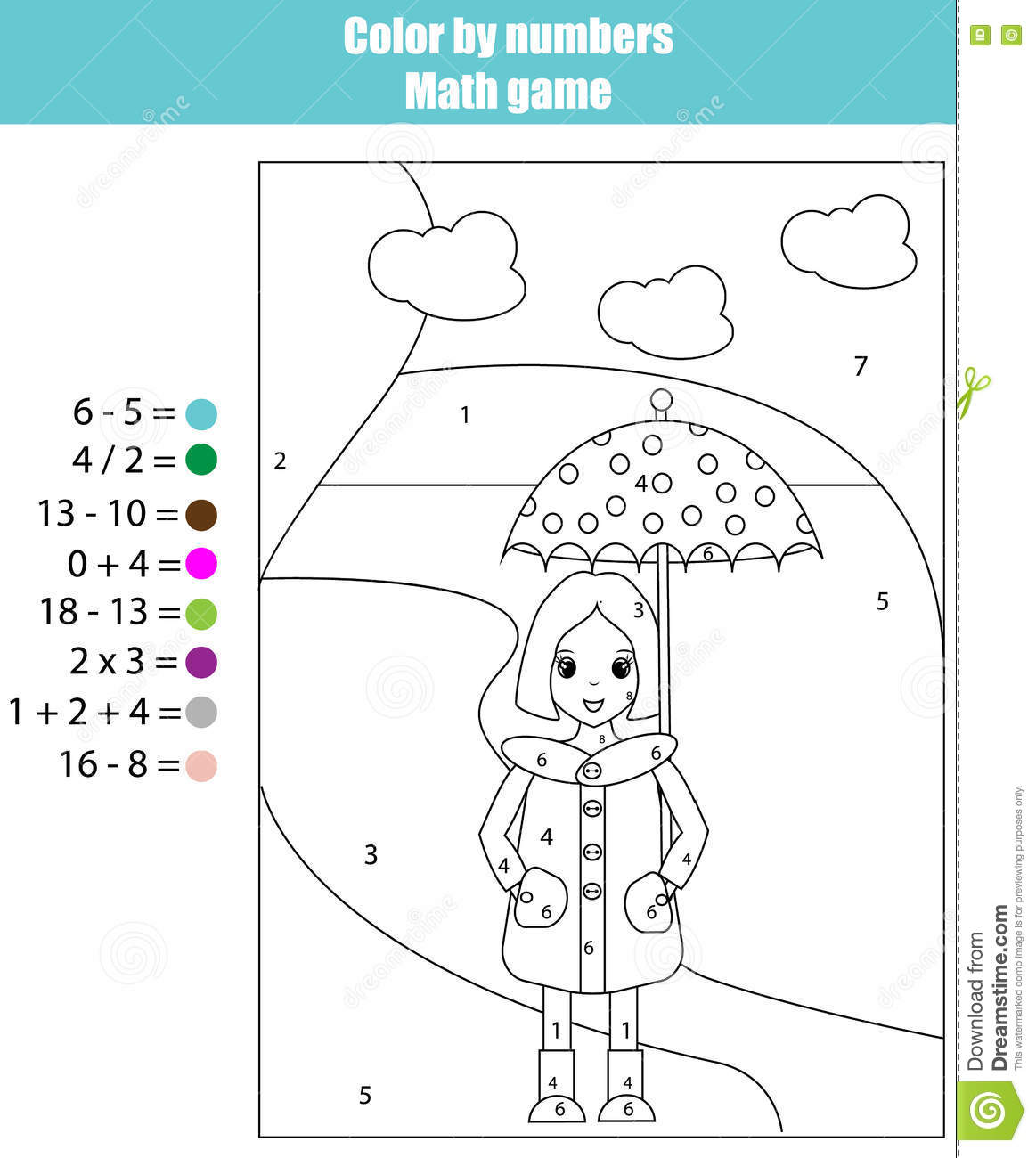 Coloring Page With Girl. Color By Numbers Math Game Stock ...