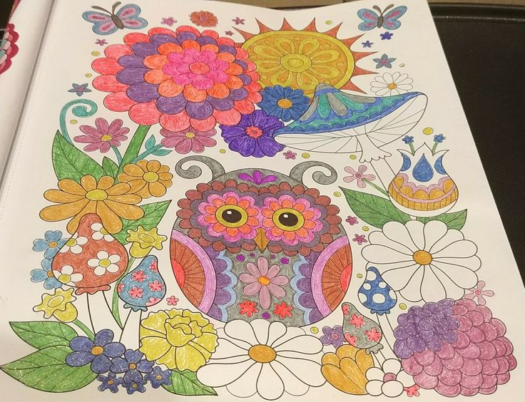 Finished coloring, Owlet. Gel pens and glitter gel pens ...