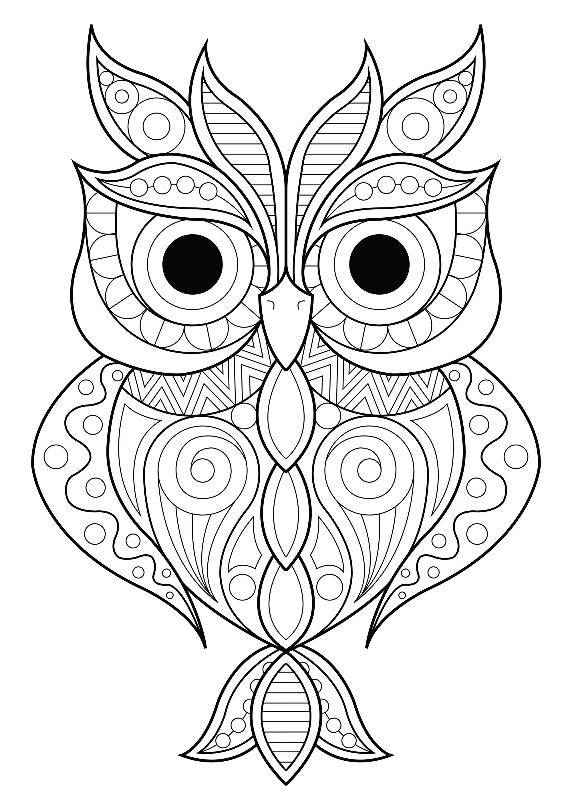 Owl simple patterns 2 - Owls Adult Coloring Pages